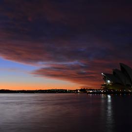 Heavy Clouds Over The Opera by Kamila Romanowska - Buildings & Architecture Public & Historical ( landmark, australia, opera, sunrise, public, opera house, sydney )
