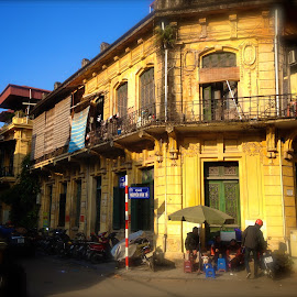 Hanoi Ancient Town by Skip Nelson - City,  Street & Park  Street Scenes ( hanoi, vietnam, architecture, yellow, travel photography,  )