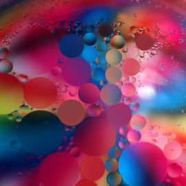 Dancing Oil Drops by Janet Herman - Abstract Macro ( abstract, dancing, oil drops, oil and water, macro, colors, floating, reflections )