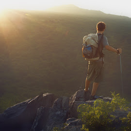 Hiker at sunset by Tom Stone - Sports & Fitness Other Sports ( backpacking, appalachian trail, hiker, sunset, greyson highlands )