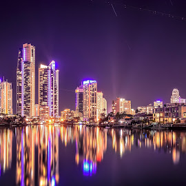 Shining Light by Alex Stecina - City,  Street & Park  Skylines ( mirror, water, lights, skyline, smooth, reflections, night, cityscape, paradise, colours )