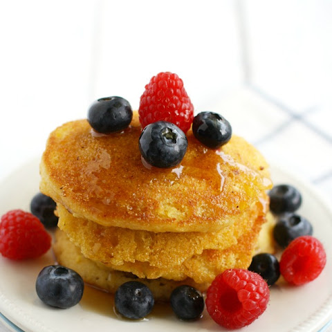Cornmeal Pancakes with Fresh Berries.