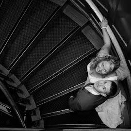 classic on the stairs by Marek Kuzlik - Wedding Bride & Groom ( mk wedding photography, creative wedding photography, wedding photographer coventry, marek kuzlik, wedding photographer warwick, west midlands wedding photography )
