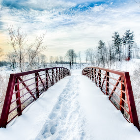 Carroll Trail Bridge  by Trevor Pottelberg - Buildings & Architecture Bridges & Suspended Structures ( clouds, winter, fog, ice, polarizer, snow, frost, morning, landscape, sun, bridge )