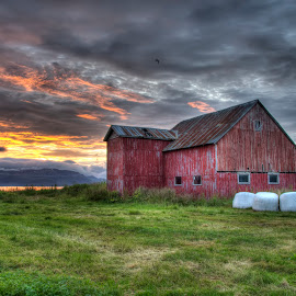 Old barn by Marius Birkeland - Buildings & Architecture Decaying & Abandoned ( clouds, old, barn, grass, sunset )