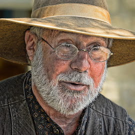 The Sherriff by Judy Rosanno - People Portraits of Men ( sherriff, hdr, spectacles, beard, texas folklife festival, mustache, closeup, portrait, man, hat )