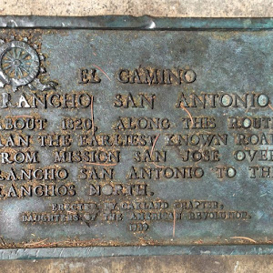 Tiny, easy-to-miss plaque at the corner of MacArthur and Broadway in Oakland, at the northeast corner of Mosswood Park. EL CAMINORANCHO SAN ANTONIO ABOUT 1820, ALONG THIS ROUTERAN THE EARLIEST KNOWN ...