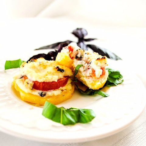 Cheesy Polenta Appetizer with Tomatoes, Ricotta and Basil
