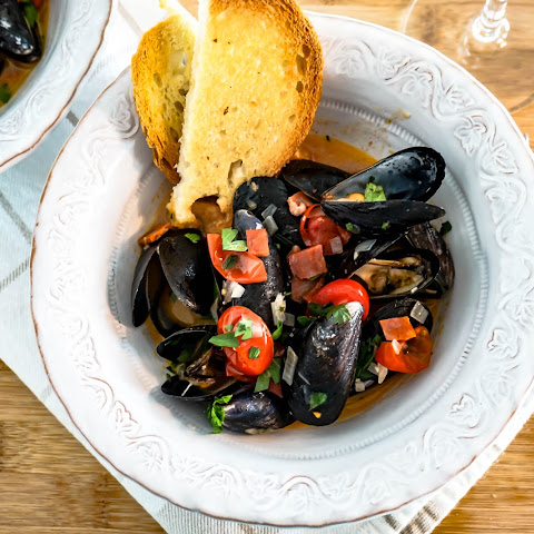 Spanish Style Mussels with Spicy Cured Chorizo