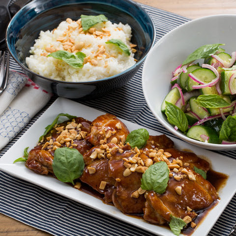 Hoisin-Glazed Chicken Thighs with Sticky Rice & Marinated Cucumber Salad