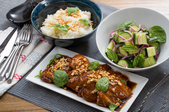 Hoisin-Glazed Chicken Thighs with Sticky Rice & Marinated Cucumber ...