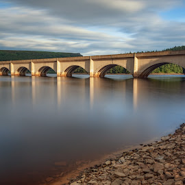 Golden Hour Reflections over Lady Bower Reservoir by Andy Young - Buildings & Architecture Bridges & Suspended Structures ( reservoir, uk, sunset, peak district, lady bower reservoir )