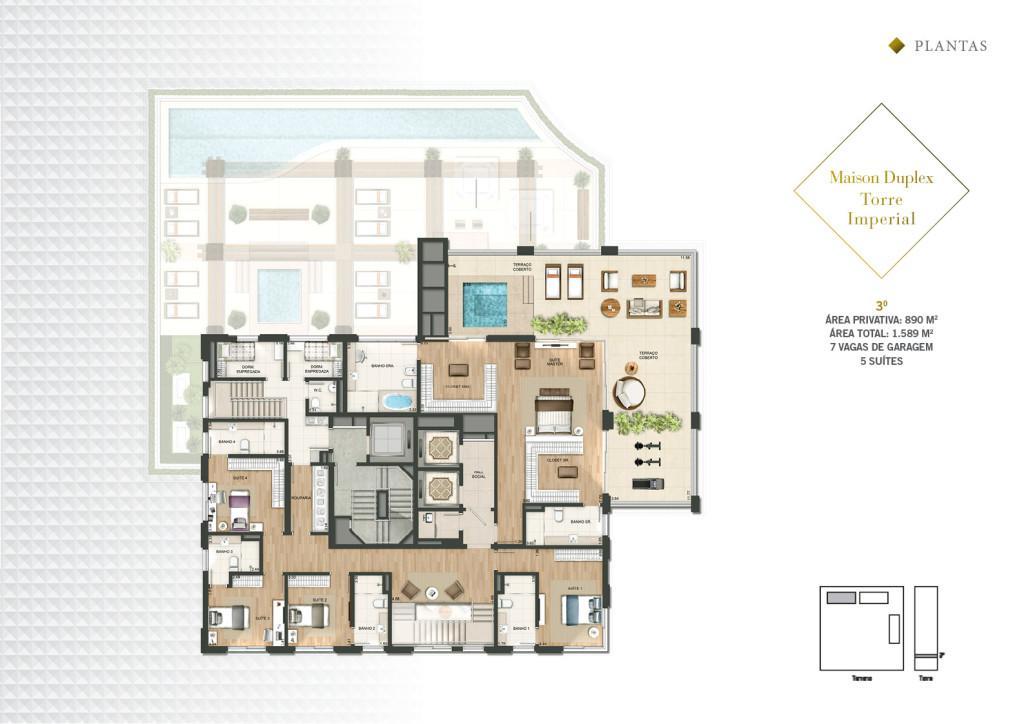 Planta Maison Duplex Pav Superior da Torre Imperial