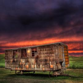 Farm Trailer by Eric Demattos - Buildings & Architecture Decaying & Abandoned ( farm, trailer, palouse brand, sunset, eric demattos, sunrise )