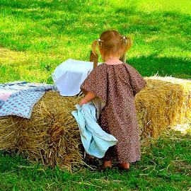 Preparing for the Picnic by Julie Dant - Babies & Children Children Candids ( little girls, calico dresses, hay bales, picnics, pioneer children, summer scenes, KidsOfSummer )