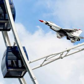 Thunderbird by Maureen Rueffer - Transportation Airplanes ( navy pier, plane, transportation, chicago, entertainment, ferris wheel )