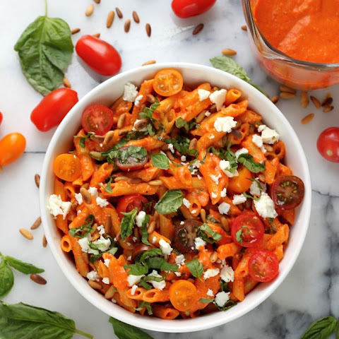 Penne with Roasted Red Pepper Sauce, Pine Nuts, Fresh Tomato, and Feta (Gluten Free)