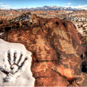 Ancient Snow Day by Roch Hart - Landscapes Deserts ( mountains, sky, desert, snow, petroglyphs, roch hart, petroglyph, stone, rock, high desert, new mexico )