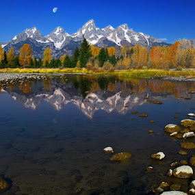 A Teton Reflection by Al Juniarsam  - Landscapes Mountains & Hills ( reflection, scwabacher landing, wyoming, grand teton, grand teton national park )