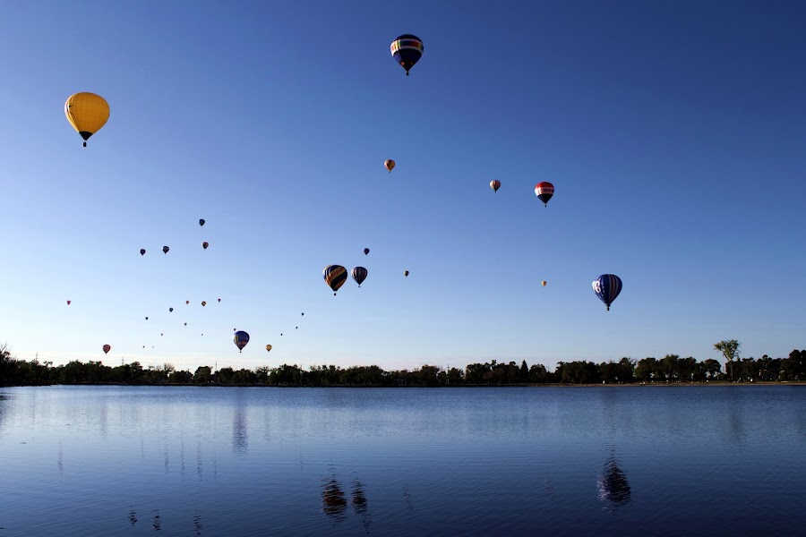 Balloons over a Lake by Bryan Rasmussen - Artistic Objects Other Objects ( reflection, blue, hot air balloons, balloon )