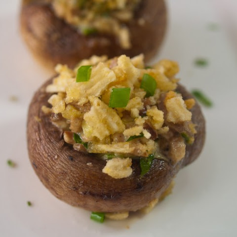 Potato Chip Topped Stuffed Mushrooms