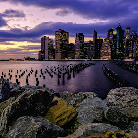 Lower Manhattan from Brooklyn by Will Shuck - City,  Street & Park  Skylines ( water, reflection, skyline, sunset, manhattan, new york, dusk )