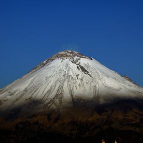 Snowy volcano and church by Alfredo Garciaferro Macchia - Landscapes Mountains & Hills ( cholula, volcano, church, mexico, popocatepetl )