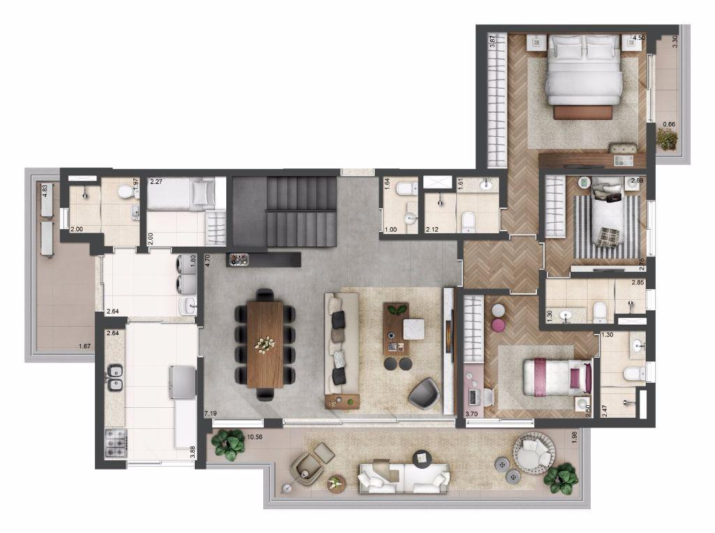 Planta Tipo Duplex - 314 m²