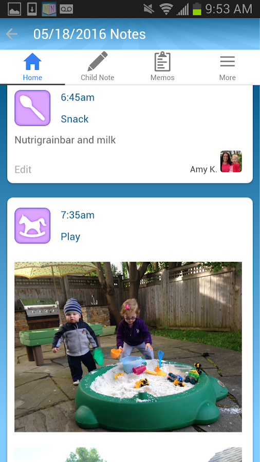 NannyNotes - Child Daily Sheet Screenshot 1