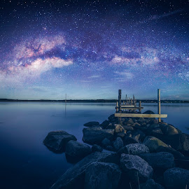 Milkyway by Marius Lund - Landscapes Starscapes ( water, milkyway, shutter, stones, evening, dock )