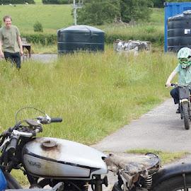 First Motorbike Ride by Caroline Beaumont - People Family ( bike, motorbike, family, motorcycle, boy )