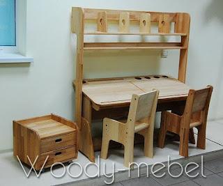 парта двойная с надстройкой, стульями, блоком шухляд (комплект)