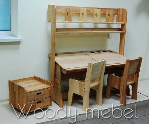 Детская мебель: парта двойная с надстройкой, стульями, блоком шухляд (комплект)