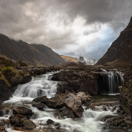 River Coe by Charlie Davidson - Landscapes Mountains & Hills ( clouds, scotland, mountains, winter, sky, waterfall, highlands, rocks, river )