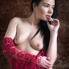 Window Light by Colin Dixon - Nudes & Boudoir Artistic Nude ( nude, breasts, red cloth, beauty, women )