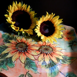 Sunflowers by Kathy Rose Willis - Artistic Objects Still Life ( orange, sunflowers, art, plate, yellow, artistic objects )