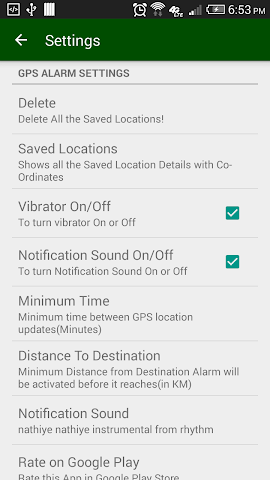 android GPS Location Alarm Screenshot 2