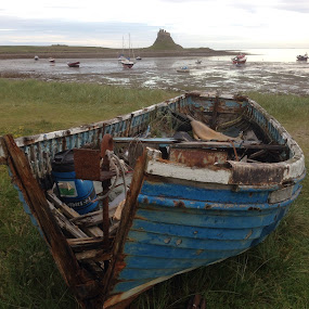 Going nowhere by Vicki Clemerson - Transportation Boats ( boats, low tide, sea, castle, boat, decay,  )