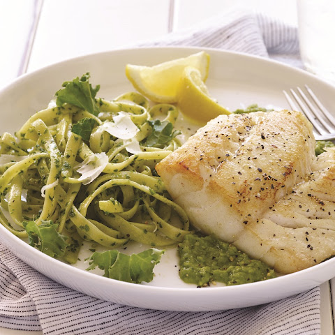 Pan-Seared Lemon Pepper Cod over Minted Pea Puree