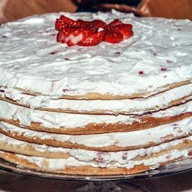 by Myra Brizendine Wilson - Food & Drink Candy & Dessert ( cake, frosting, strawberries, icing )
