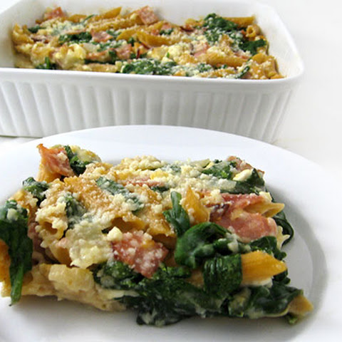 Skinny Ham, Spinach and Two-Cheese Pasta Casserole