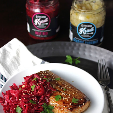 Asian Marinated Mahi Mahi with Beet Red Kraut