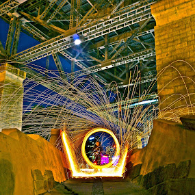 steel wool underneath harbour bridge  by Adam Scarf - Abstract Light Painting