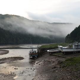The Fog by Sue Magoon - Landscapes Beaches ( fog, ocean, ships,  )