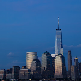 by Judy Florio - City,  Street & Park  Skylines ( lights, skyline, manhattan, cityscape, new york )