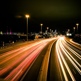 Rush Hour by Scott Cove - City,  Street & Park  Street Scenes ( melbourne, cars, australia, street, night, ghost, road, freeway, city )