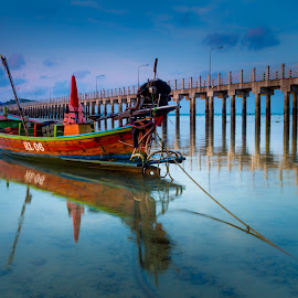 Boat and Pier by JethroLlarenas Abagao - Transportation Boats