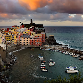 Vernazza by Arda Erlik - Buildings & Architecture Public & Historical ( cinque terre, vernazza, sunrise, travel, italy,  )