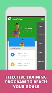 Arm Workouts Lumowell Fitness app screenshot for Android