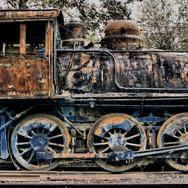 Derelict in Train Museum by Christopher Barker - Transportation Trains ( derelict, steam train engine, rust, antique, decay )